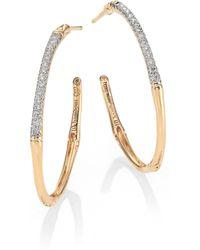 John Hardy Bamboo Diamond & 18K Yellow Gold Hoop Earrings/0.8 - Lyst