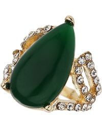 TOPSHOP - Green Teardrop Stone Ring Green - Lyst