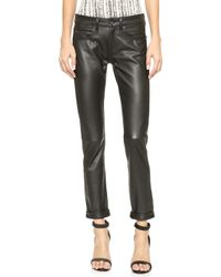 Rag & Bone The Leather Dre Slim Bf Pants - Black Leather - Lyst