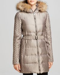 BCBGMAXAZRIA Bcbg Max Azria Coat  Fur Trim Hood - Lyst