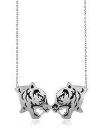 Kenzo Rhodium Silver And Black Lacquer Fighting Tiger Necklace - Lyst