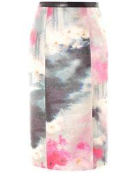 Honor Watercolour-Print Silk Pencil Skirt pink - Lyst