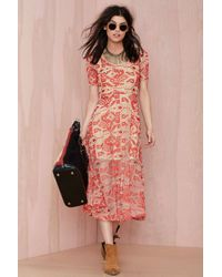 Nasty Gal Line And Dot Other World Embroidered Dress - Lyst