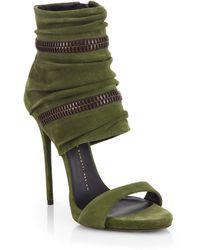 Giuseppe Zanotti Suede Wraparound Zipper Sandals - Lyst