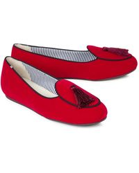 Charles Philip - Red Tasselled Velvet Loafers - Lyst
