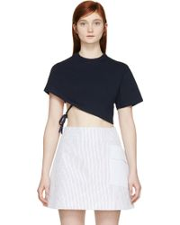 Jacquemus Navy Cropped One_Sleeve T_Shirt - Lyst