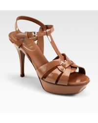 Saint Laurent Tribute Patent Leather Platform Sandals - Lyst