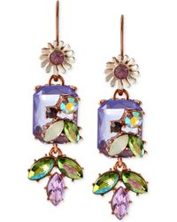 Betsey Johnson Rose Gold-Tone Crystal Gem And Mixed Faceted Bead Drop Earrings - Lyst