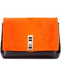 Proenza Schouler Ps Elliot Leather And Fur Clutch - Lyst