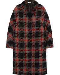 Miu Miu Oversized Checked Wool-tweed Coat - Lyst