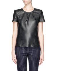 Maje Griska Pleat Neck Leather T-Shirt - Lyst