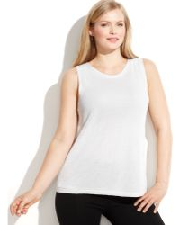 Calvin Klein Plus Size Metallic Sleeveless Sweater - Lyst