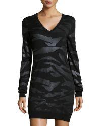 McQ by Alexander McQueen Shimmer Zebraknit Sweater Dress - Lyst