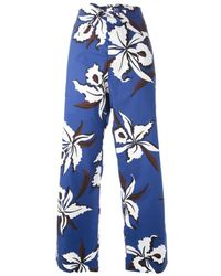 Marni Floral Print Cotton Trousers - Lyst