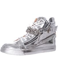 Giuseppe Zanotti Laminated Leather Sneakers With Chain - Lyst