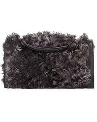Donna Karan - Shearling Flap Clutch Bag - Lyst