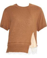 MUVEIL - Slit-hem Short-sleeved Knit Top - Lyst