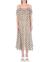 Dries Van Noten Off-The-Shoulder Printed Silk Dress - For Women - Lyst