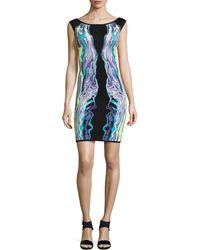 Hervé Léger Bridget Optic Multicolor Ripple Jacquard Dress - Lyst