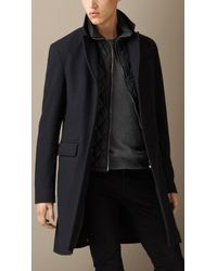 Burberry Wool Cashmere Melton Coat with Warmer - Lyst