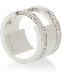 Maison Dauphin - White Gold And Diamonds Open Band Ring - Lyst