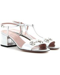 Gucci Embellished Metallic-Leather Sandals - Lyst