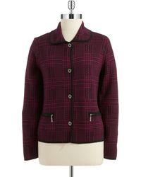 Jones New York Purple Plaid Jacket - Lyst