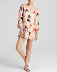 Cynthia Rowley Dress - Off-The-Shoulder Watercolor Chiffon Mini - Lyst