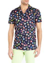 Love Moschino Button Print Short Sleeve Sport Shirt - Lyst