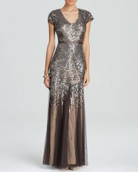 Adrianna Papell Gown - Cap Sleeve Beaded - Lyst