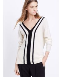 Vince Cashmere Colorblock Stripe Double V-Neck Sweater - Lyst