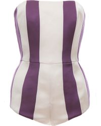Esme Vie Gardenia White and Lilac Purple Stripe Body Suit - Lyst