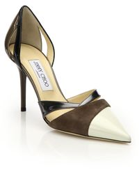 Jimmy Choo Marcine Leather, Suede & Patent Leather Pumps - Lyst