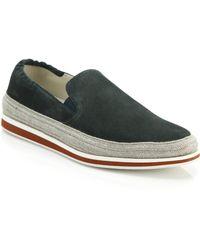 Prada Suede & Espadrille Slip-On Sneakers green - Lyst