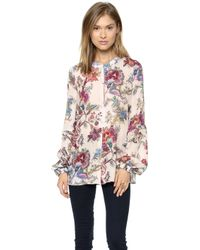 Just Cavalli Floral Print Top Off White - Lyst