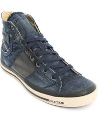 Diesel Exposure 1 Dark Blue Denim High-Top Sneakers - Lyst