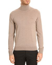 Lacoste Beige Turtle Neck with Toneontone Crocodile Logo - Lyst