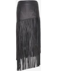 Exclusive For Intermix Leather Fringe Skirt - Lyst