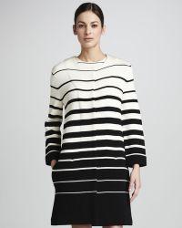 Adrienne Vittadini - Striped Crepe Jacket - Lyst