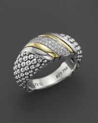 Lagos 18K Gold And Sterling Silver Diamond Wave Ring - Lyst