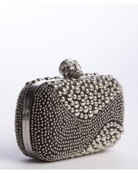 Alexander McQueen Black Leather Metal Studded Skull Clasp Minaudiere Clutch - Lyst