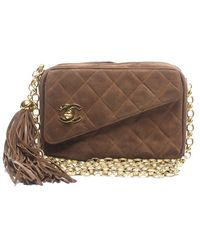 Chanel Preowned Brown Suede Quilted Cc Tassel Camera Bag - Lyst
