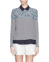 Tory Burch 'Pamela' Nautical Stripe Flower Print Silk Shirt - Lyst