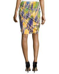 Natori - Tboli Printed Draped Pencil Skirt - Lyst