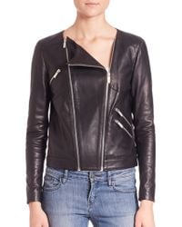The Kooples | Thin Leather And Rib Jacket | Lyst