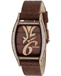 Le Vian - Women'S Swiss Time Diva Diamond (1-7/8 Ct. T.W.) Brown Leather Strap 32X35Mm - Lyst