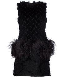 Lanvin Mixed-texture Dropwaist Dress black - Lyst