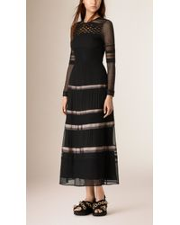 Burberry | Silk And Lace Panel Dress | Lyst