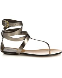 Gucci Metallic Leather Thong Sandals - Lyst