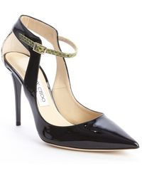 Jimmy Choo Black and Lime Patent Leather and Snakeskin Pointed Toe Pumps - Lyst